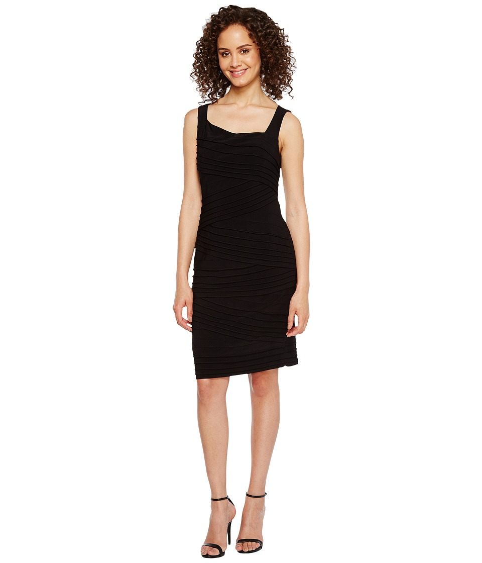 Adrianna Papell - Variegated Striped Banded Jersey Sheath Dress