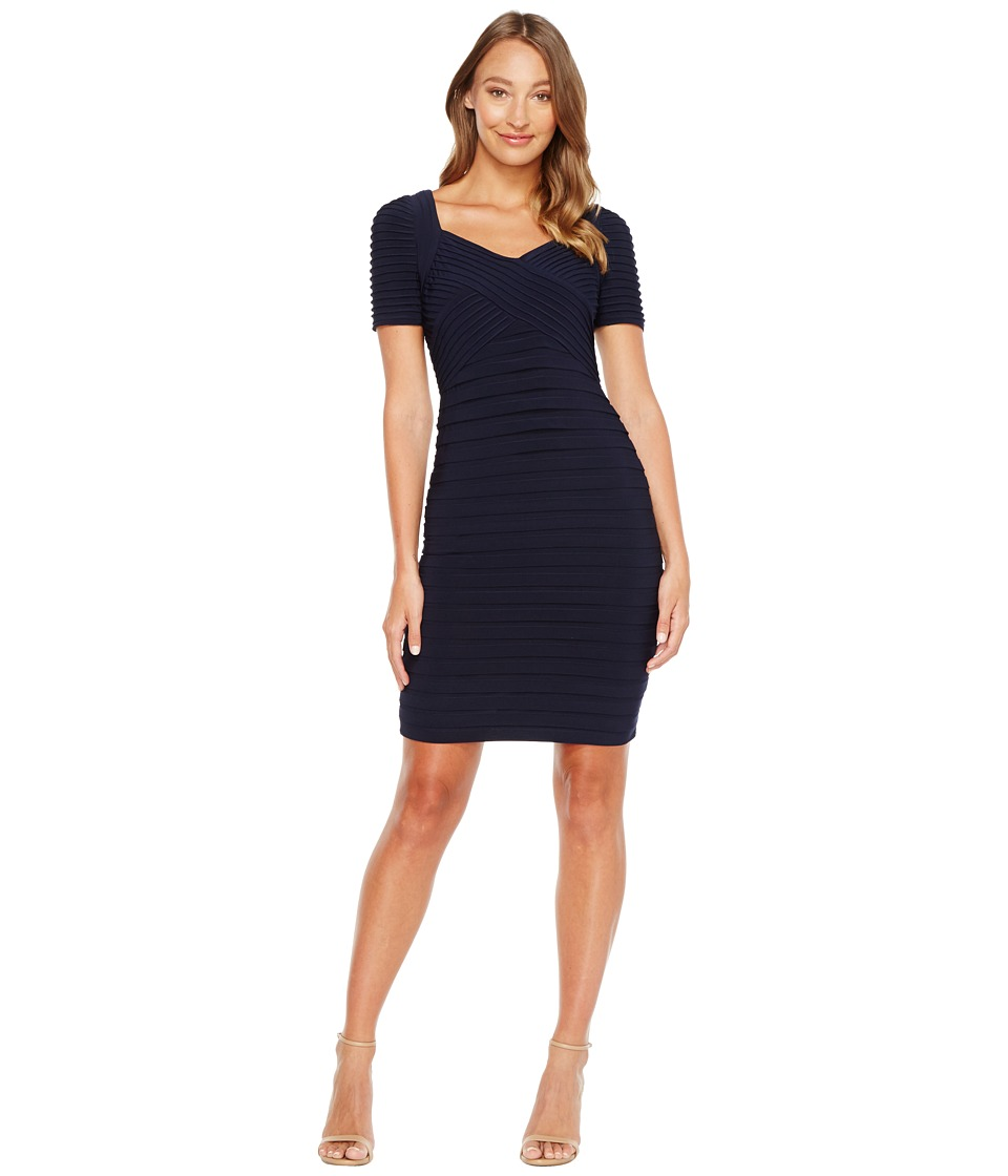 Adrianna Papell - Matte Jersey Banded Sheath Dress with Pin Tucked Bodice