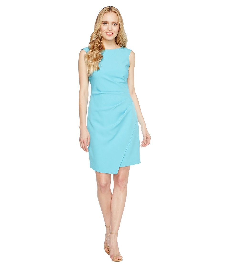 Adrianna Papell - Scissor Hem Side Drape Dress with Bateau Neck (Pacific Blue) Womens Dress