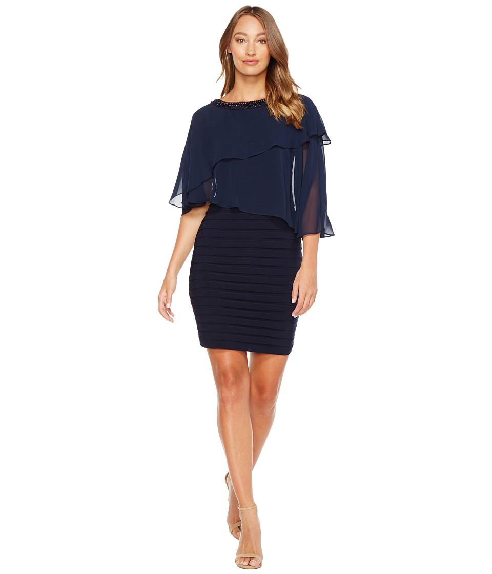 Adrianna Papell Chiffon Cape Matte Jersey Sheath Dress (Blue Moon) Women