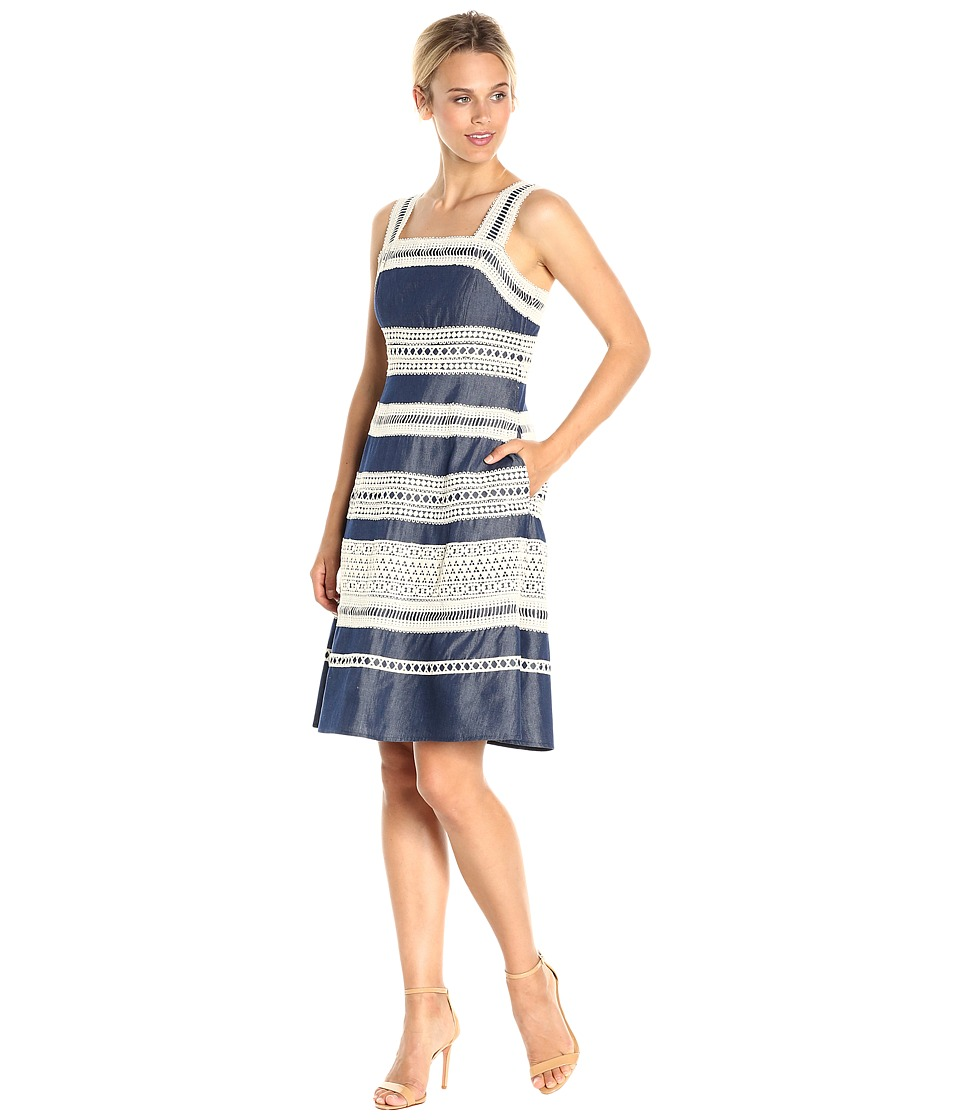 Adrianna Papell Chambray Fit and Flare Dress with Contrast Striped Lace Trims (Indigo) Women