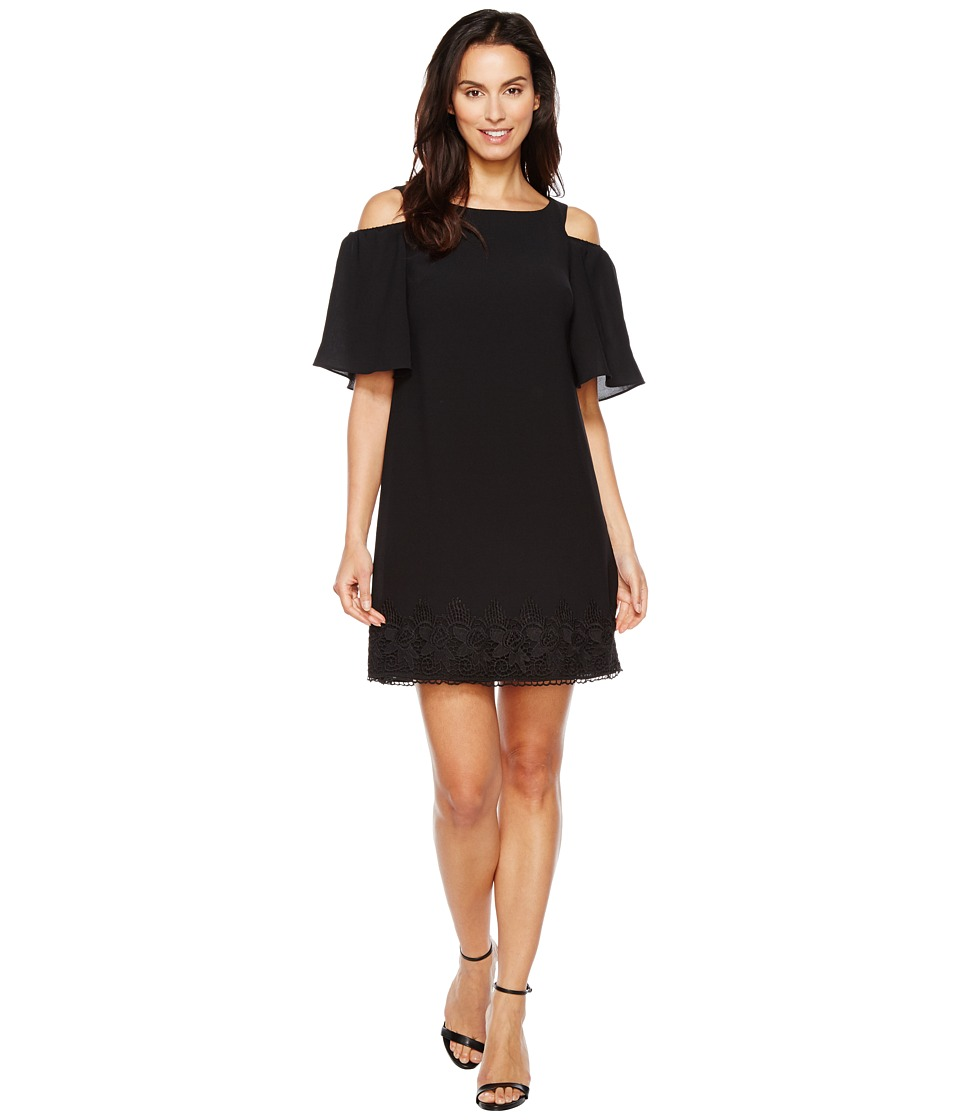 Adrianna Papell - Gauzy Crepe Cold Shoulder Shift Dress w/ Elbow Sleeve (Black) Womens Dress