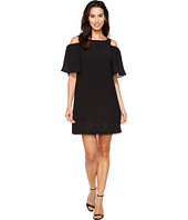 Adrianna Papell - Gauzy Crepe Cold Shoulder Shift Dress w/ Elbow Sleeve