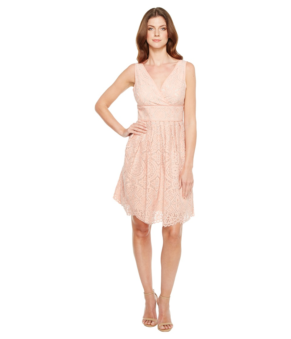 Adrianna Papell - Ella Mosaic Lace V-Neck Fit and Flare Sleeveless Dress