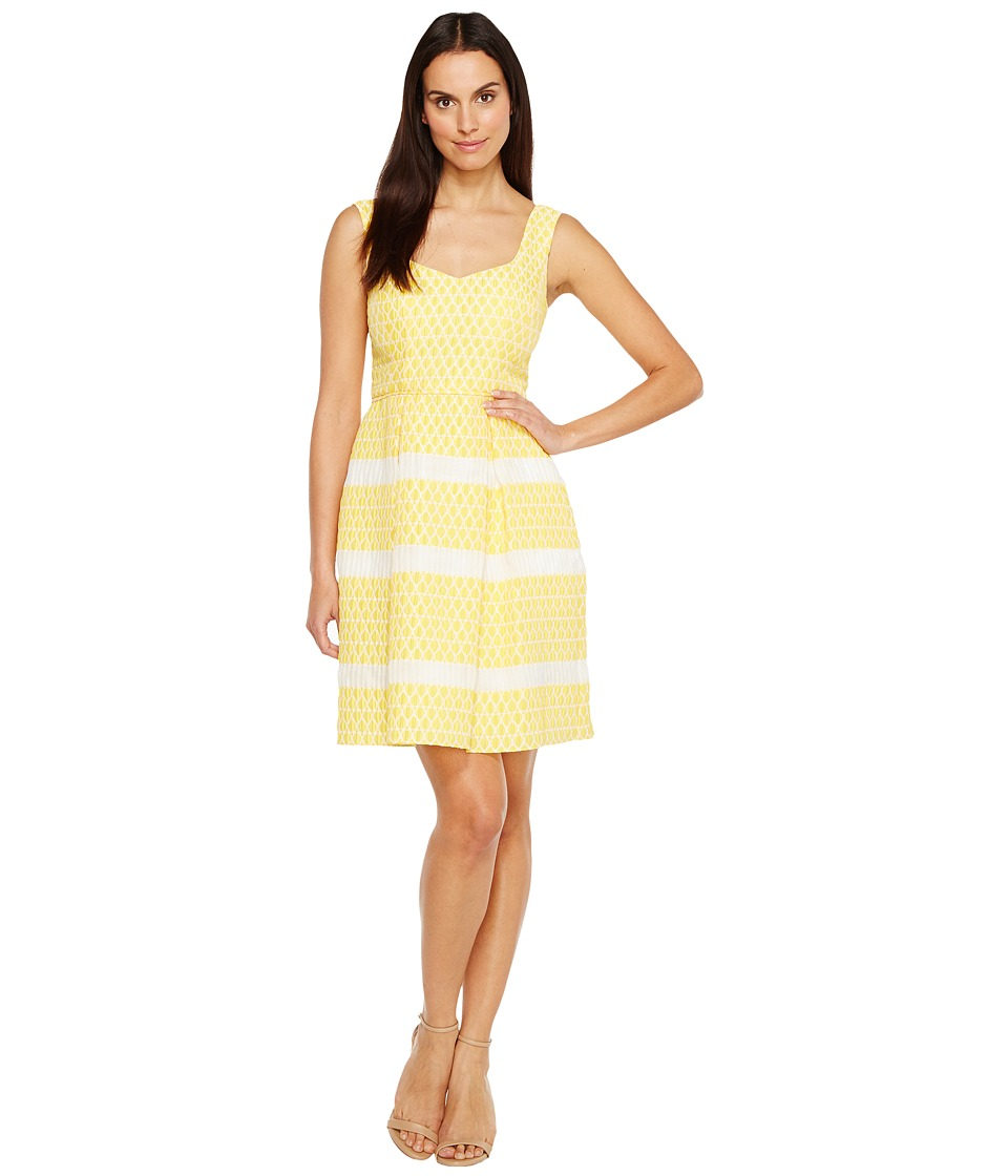 Adrianna Papell - Lemon Drop Jacquard Fit and Flare Sleeveless Dress