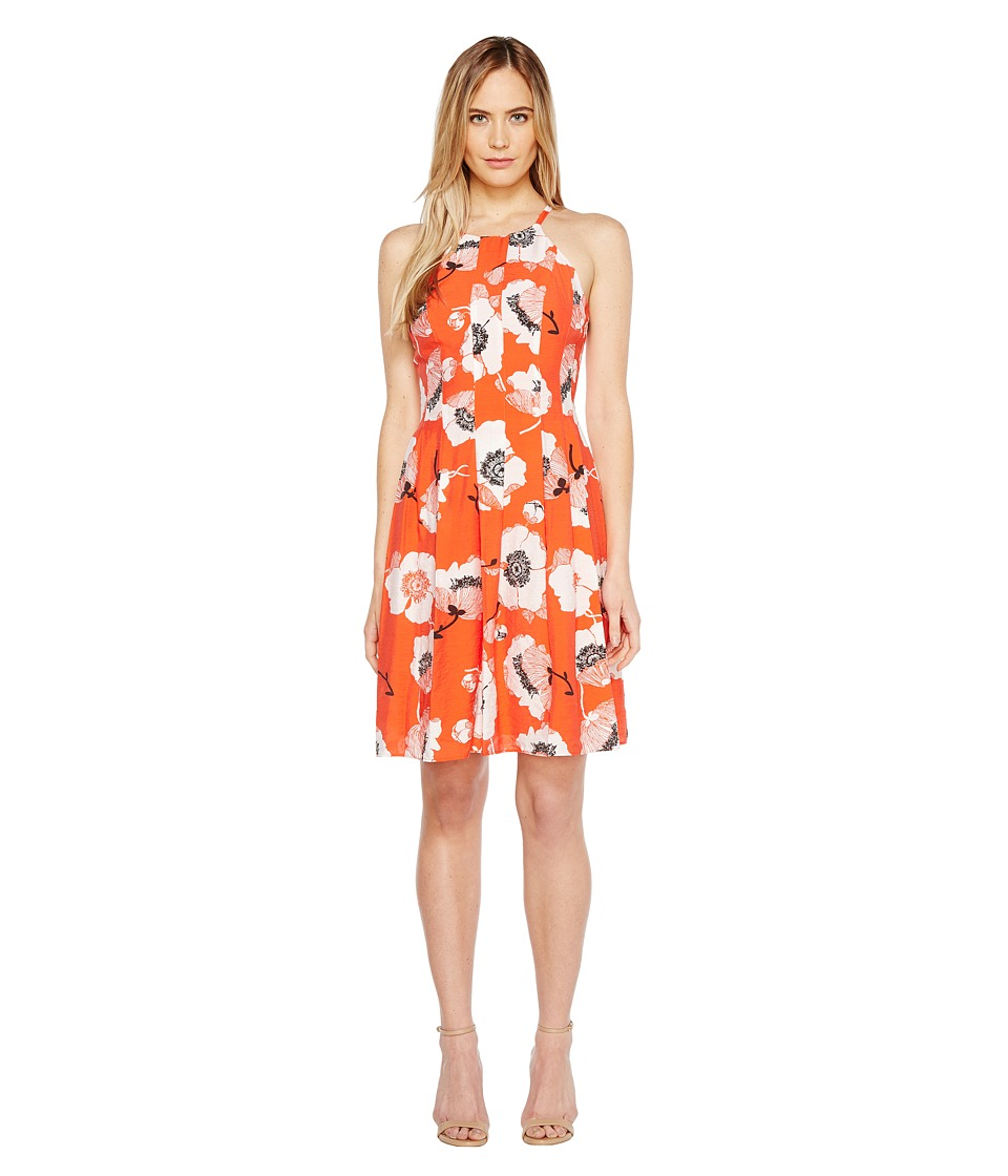 Adrianna Papell - Grand Vintage Etching Print Seamed Fit and Flare Seamed Halter Dress