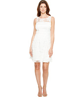 Adrianna Papell - Zelda Fringe Embroidered Lace Mesh Fit and Flare Sleeveless Dress