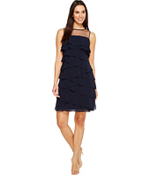 Adrianna Papell - Tiered Chiffon Shutter Tuck Sheath Dress w/ Illusion Neckline