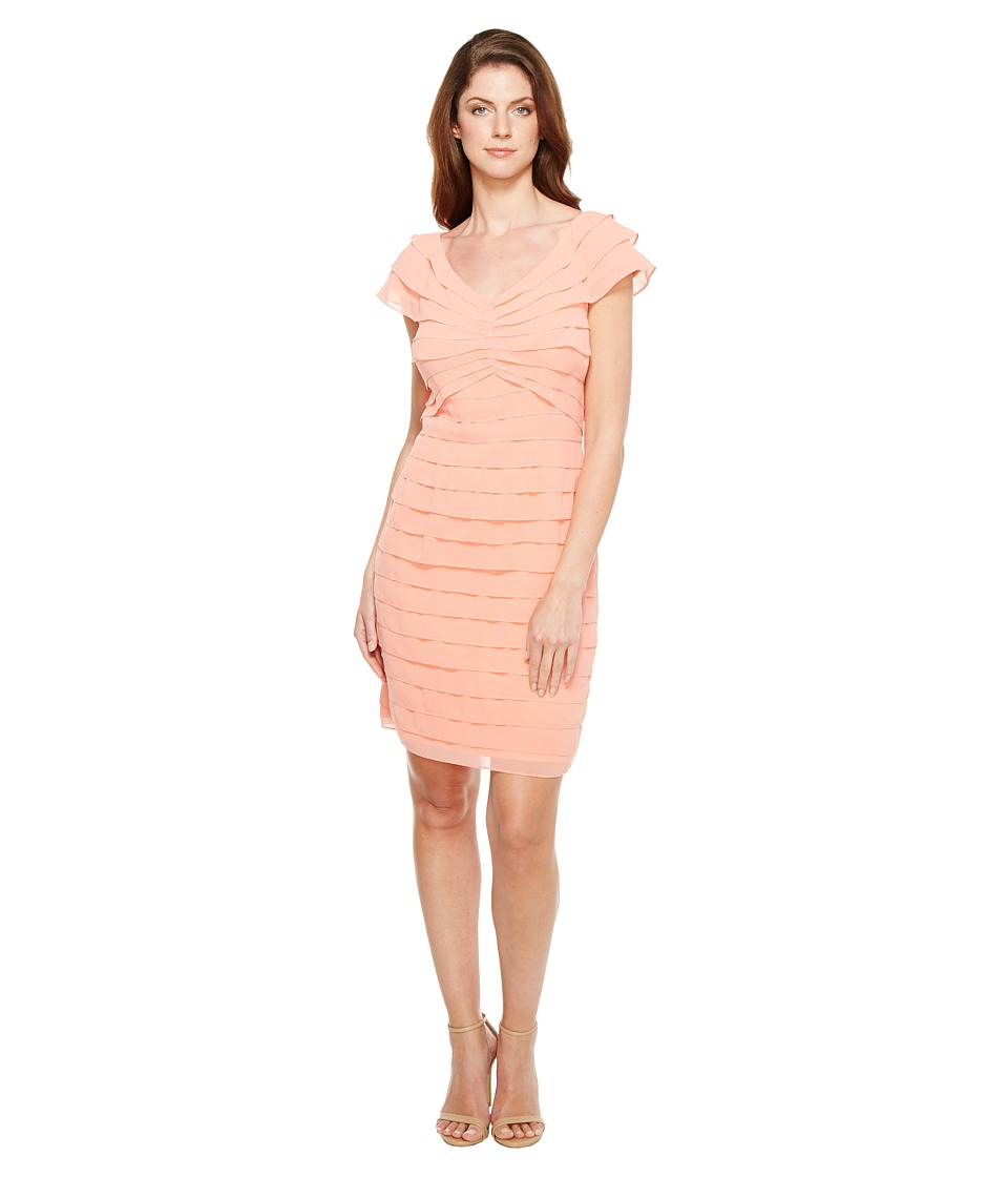 Adrianna Papell - Tiered Chiffon Shutter Tuck Sheath Dress with V