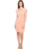 Adrianna Papell - Tiered Chiffon Shutter Tuck Sheath Dress with V-Neckline