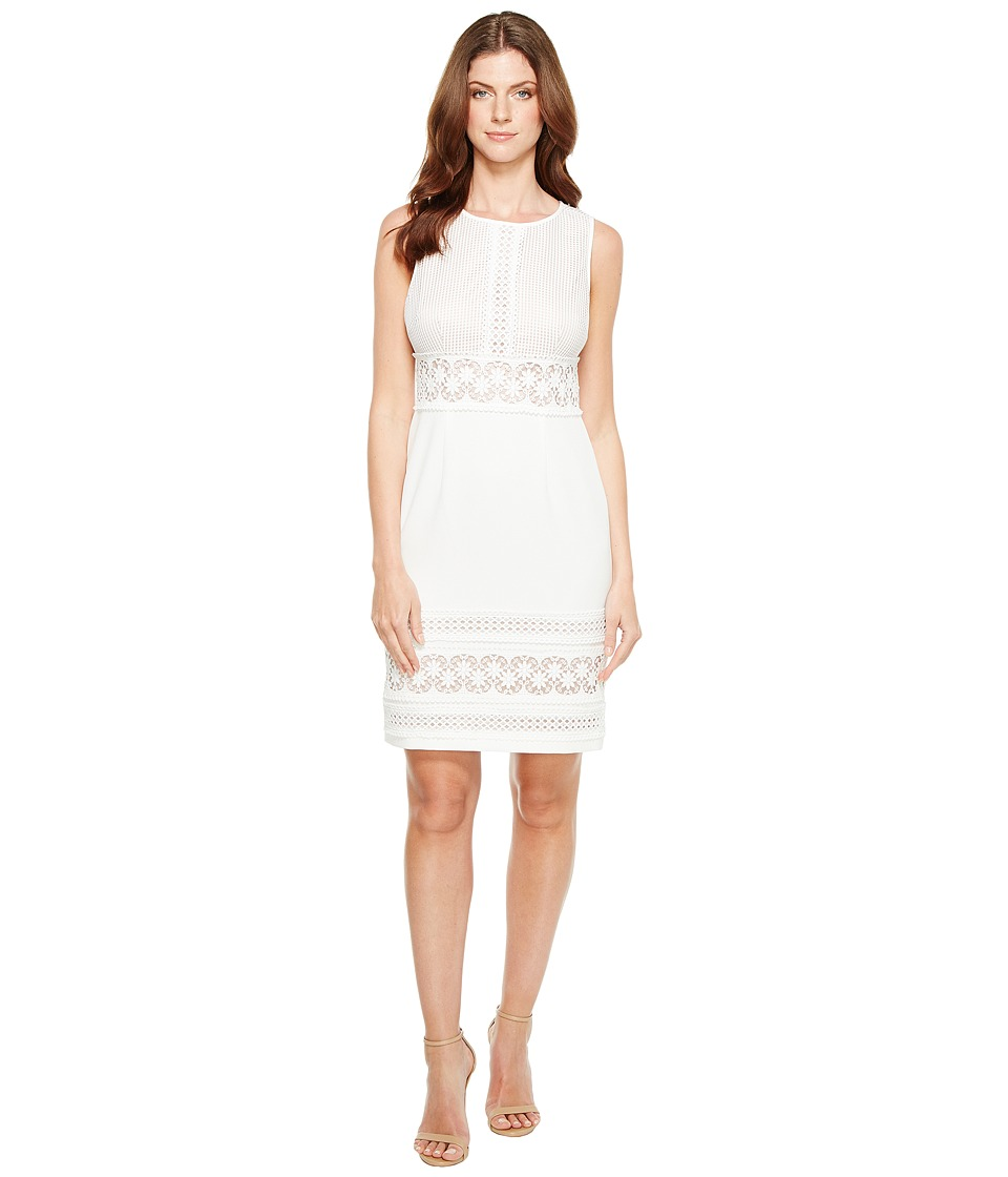 Adrianna Papell Adrianna Papell - Stretch Crepe Sheath Dress with Lace Mixing Details Sleeveless Dress