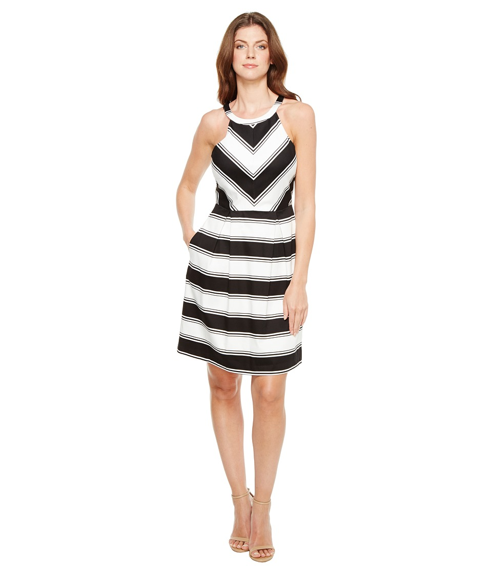 Adrianna Papell - Printed Stripe Stretch Cotton Halter Neck Fit and Flare Dress (Black/White) Womens Dress