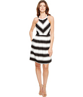 Adrianna Papell - Printed Stripe Stretch Cotton Halter Neck Fit and Flare Dress