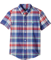 Polo Ralph Lauren Kids - Yarn-Dyed Madras Short Sleeve Button Down Top (Little Kids/Big Kids)