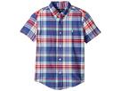 Polo Ralph Lauren Kids - Yarn-Dyed Madras Short Sleeve Button Down Top (Little Kids/Big Kids)
