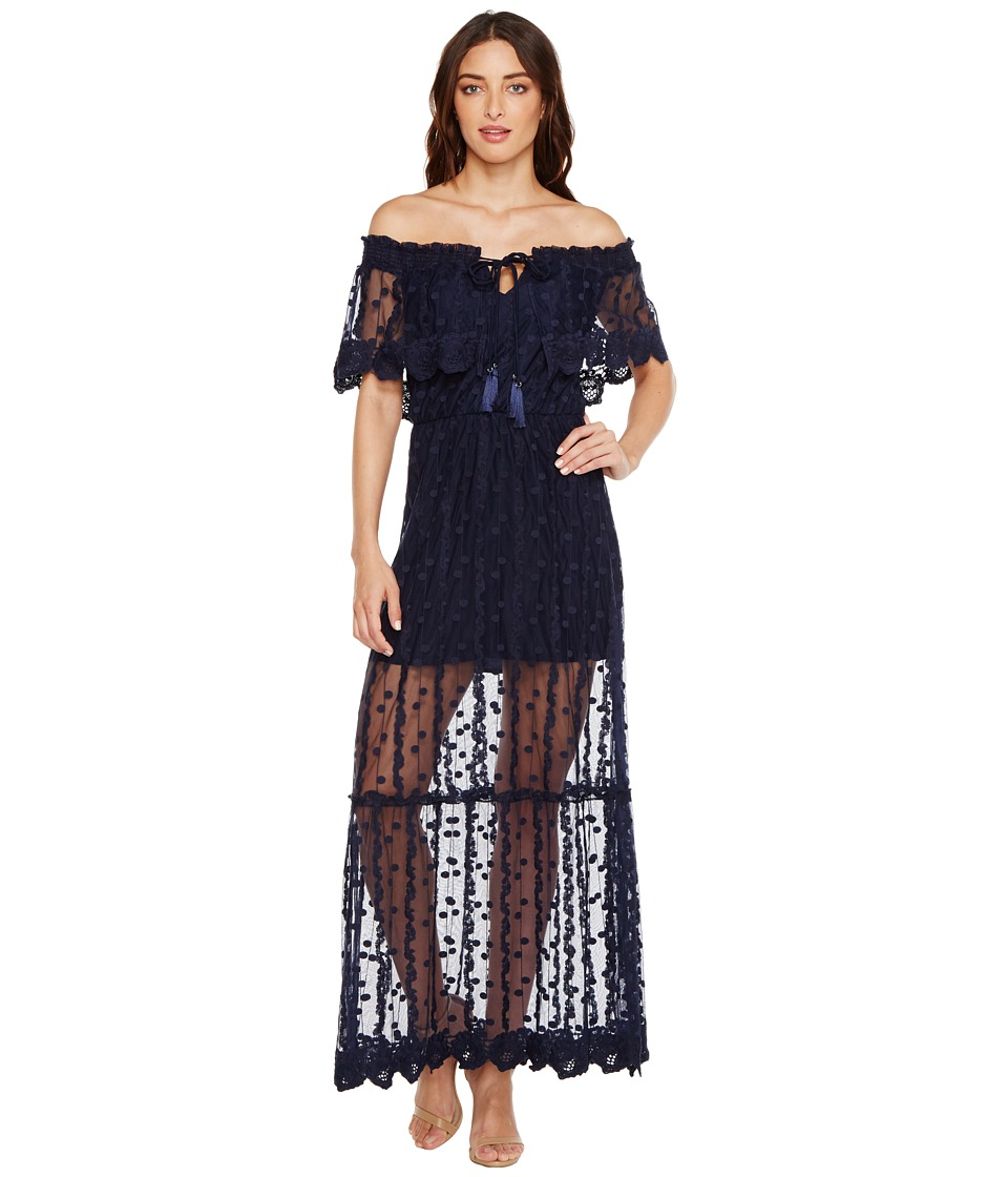 Adelyn Rae Josephine Woven Maxi Dress (Navy) Women
