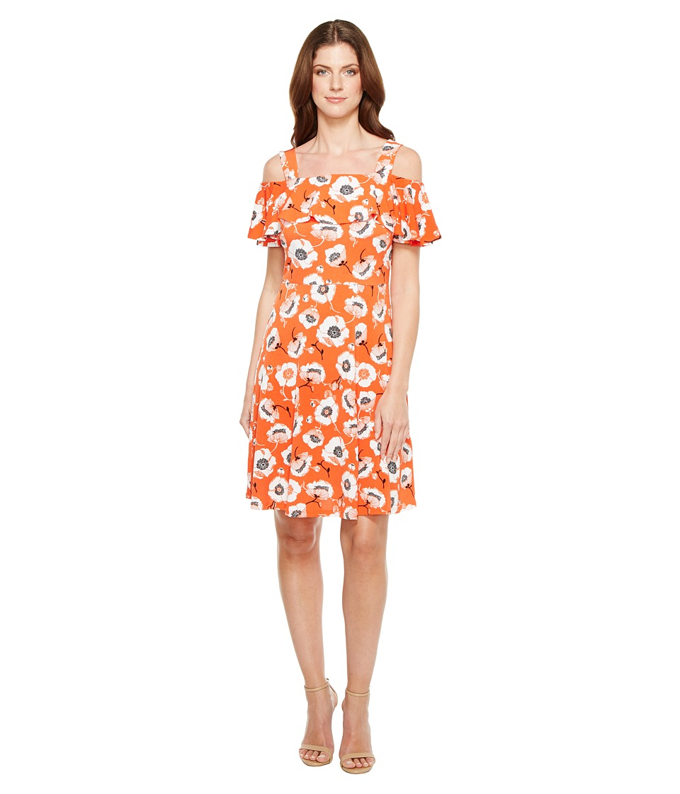 Adrianna Papell - Off Shoulder Short Sleeve Fit and Flare Printed Dress