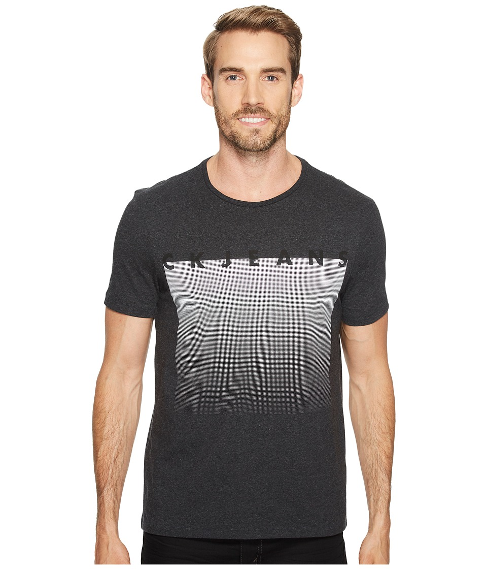 Calvin Klein Jeans Mesh Horizon Crew Neck T-Shirt (Dark Grey Heather) Men