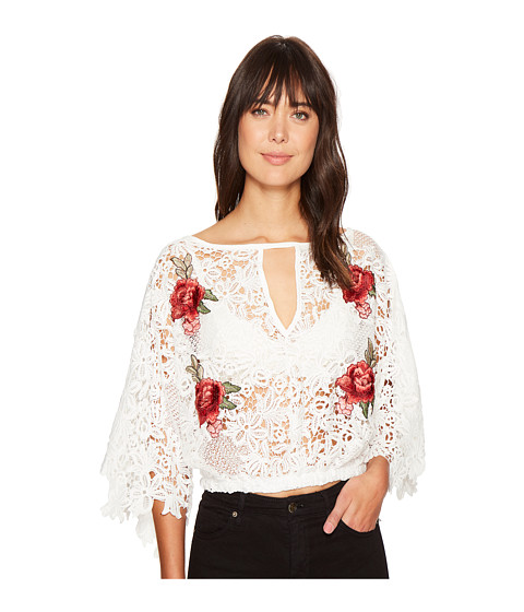 ROMEO & JULIET COUTURE Embroidered Rose Lace All Over Top