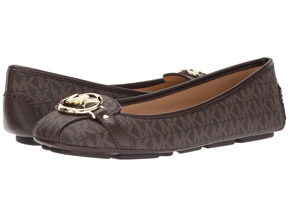 MICHAEL Michael Kors Fulton Moc (Brown Mini MK Logo Coated Canvas) Slip-On Shoes