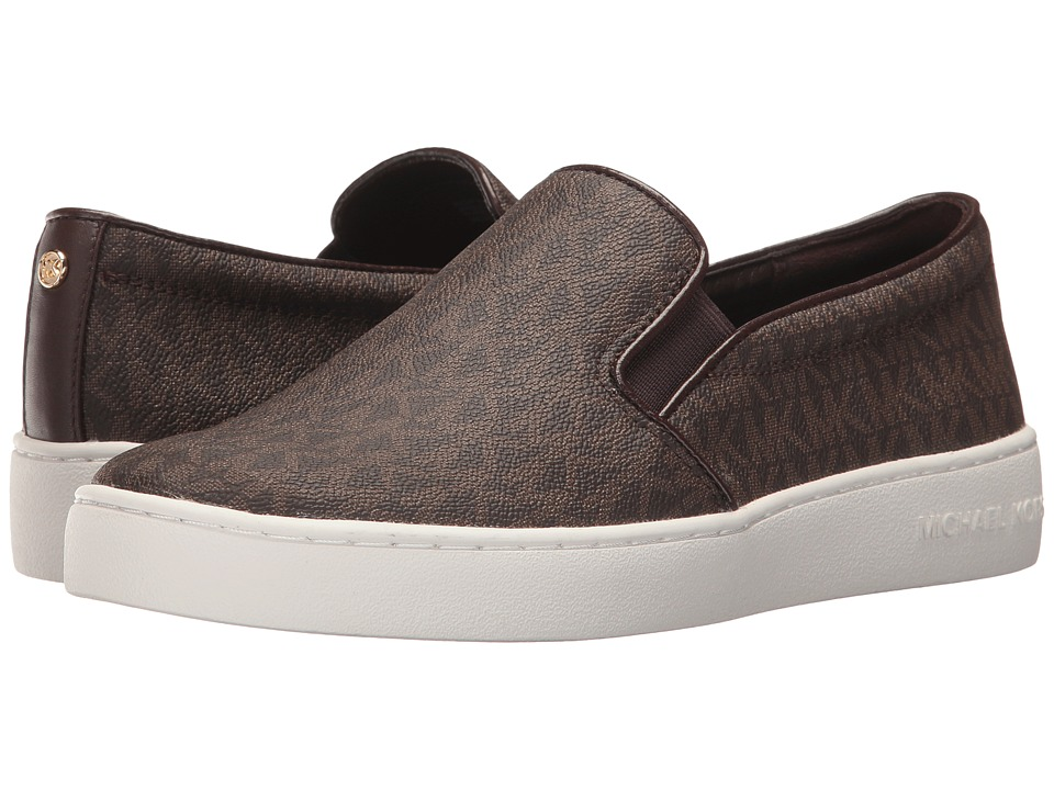 MICHAEL Michael Kors Keaton Slip-On (Brown Mini MK Logo Coated Canvas/Suprema Nappa Sport) Slip-On Shoes
