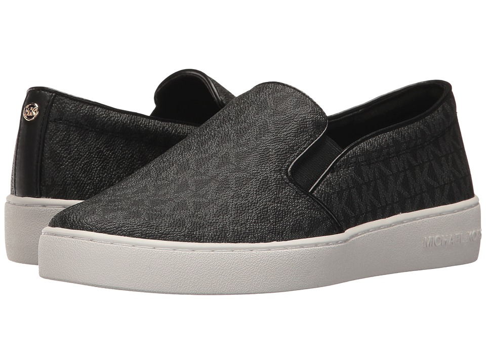 MICHAEL Michael Kors Keaton Slip-On (Black Mini MK Logo Coated Canvas/Suprema Nappa Sport) Slip-On Shoes
