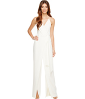 Halston Heritage - Sleeveless Deep V-Neck Faux Wrap Jumpsuit w/ Sash