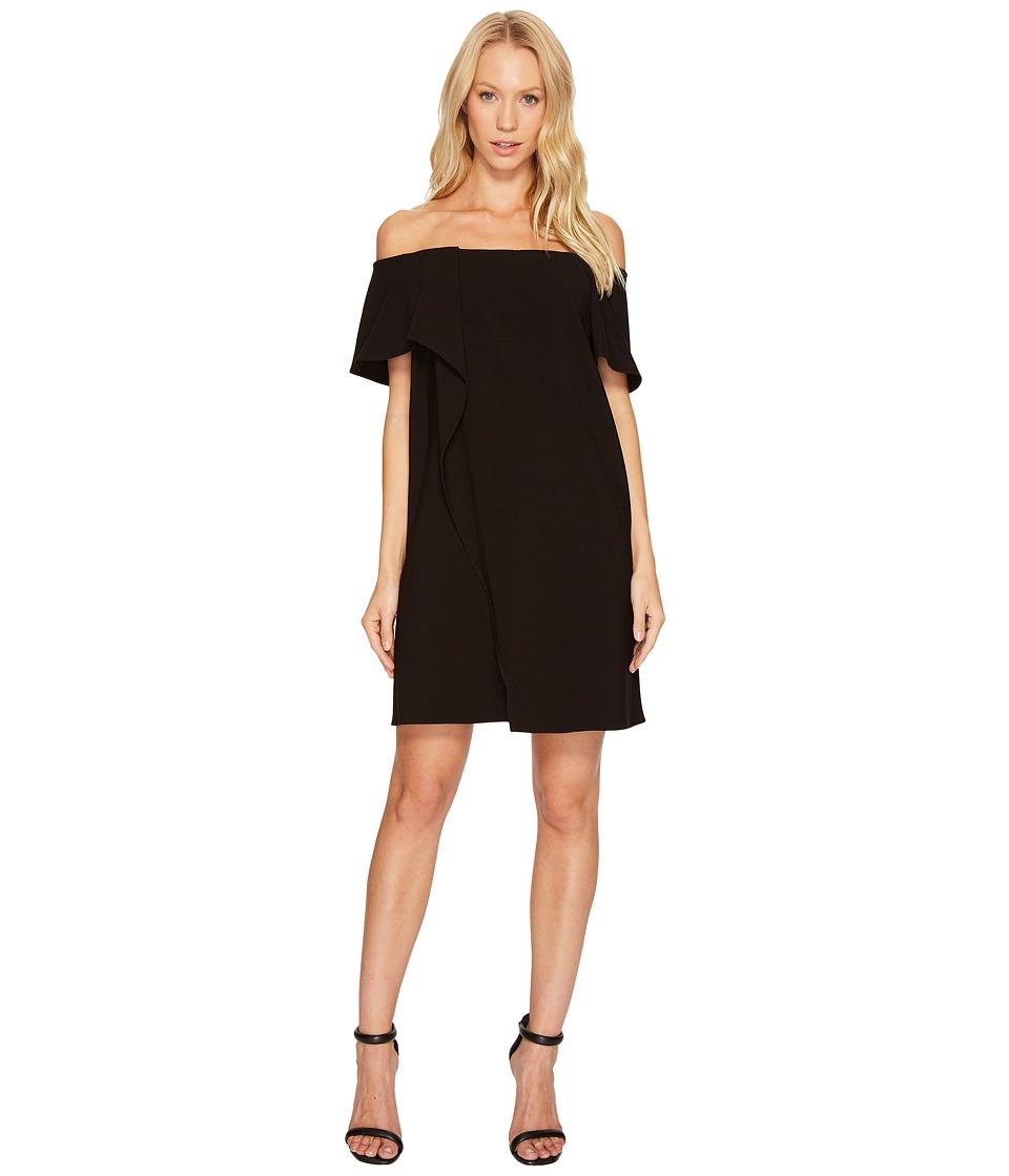 Halston Heritage Short Sleeve Cold Shoulder Asymmetrical Drape Dress (Black) Women