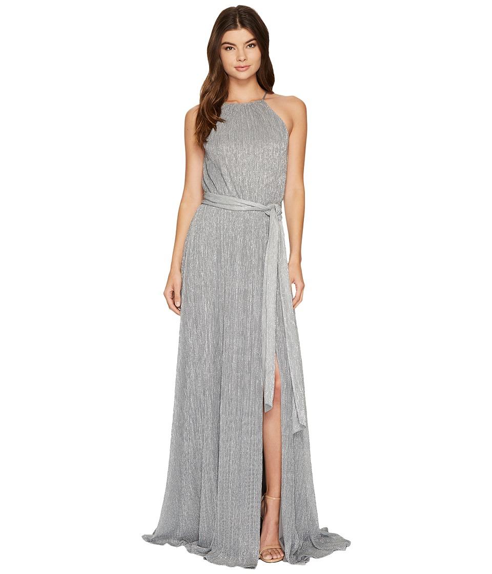 Halston Heritage Sleeveless High Neck Textured (Silver) Women