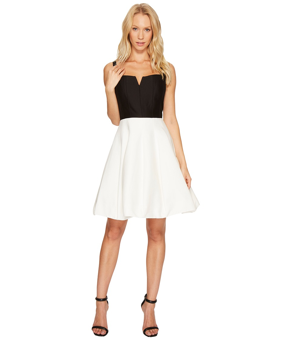 Halston Heritage Sleeveless Geo Neck Color Block Silk Faille Dress (Chalk/Black) Women