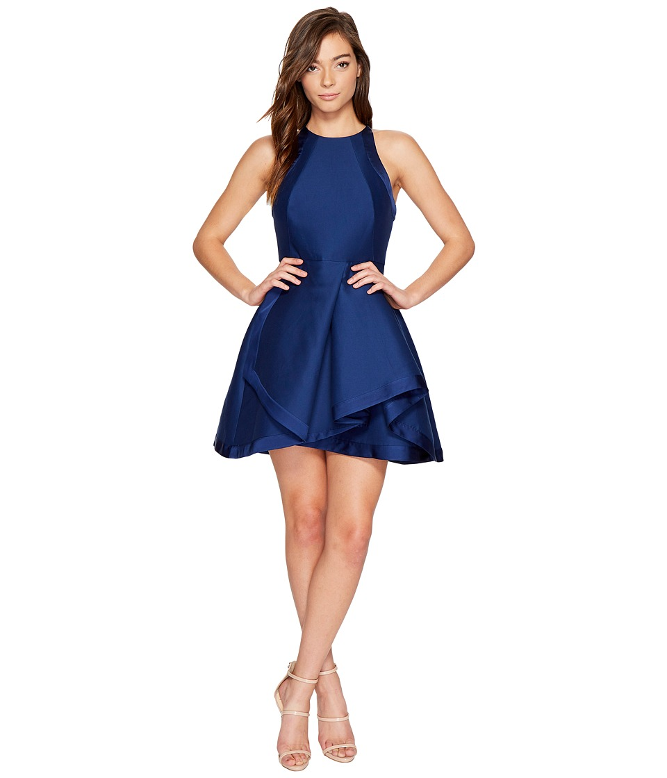Halston Heritage Sleeveless High Neck Structured Dress w/ Tiered Skirt (Navy) Women