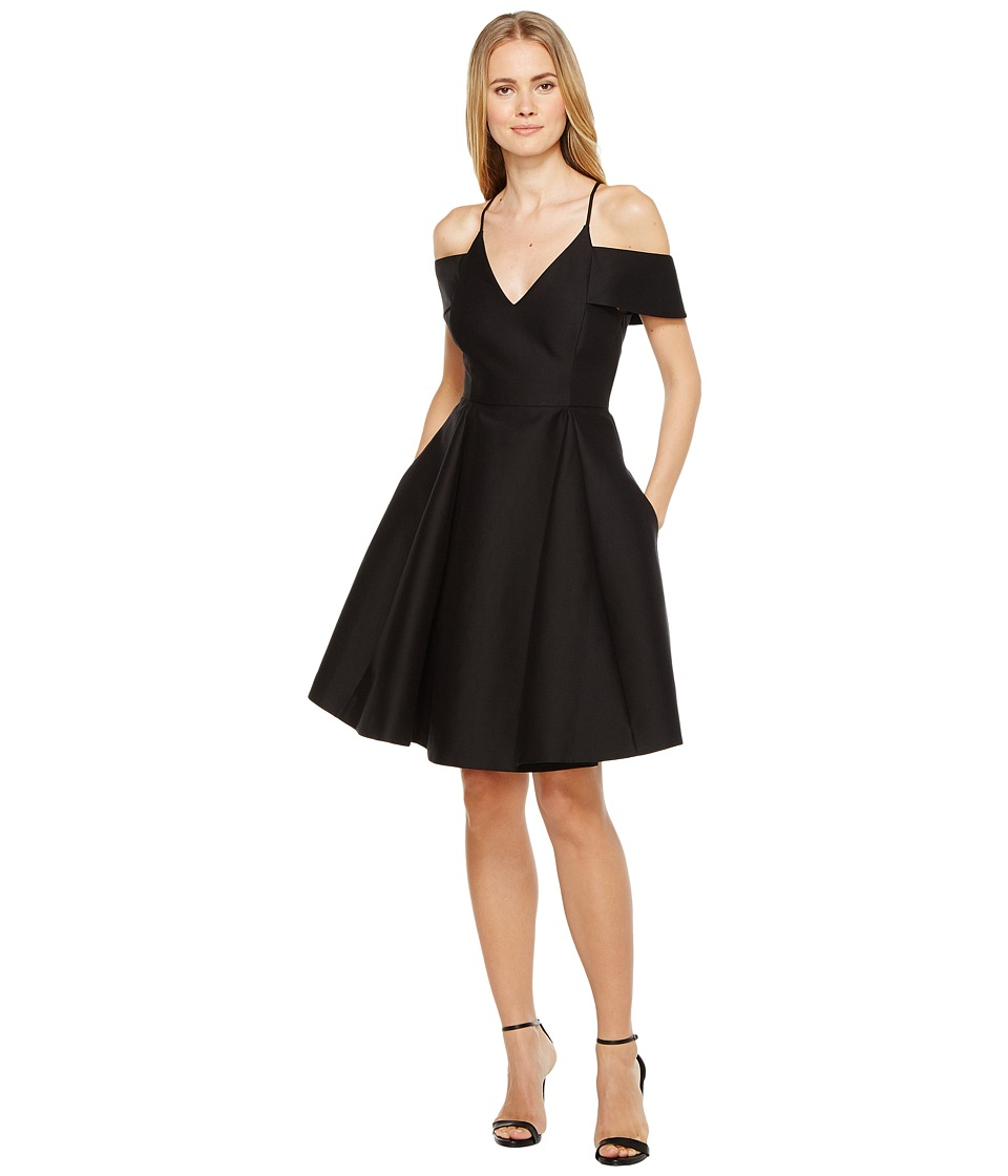 Halston Heritage Short Sleeve Cold Shoulder V-Neck Silk Faille Dress (Black) Women