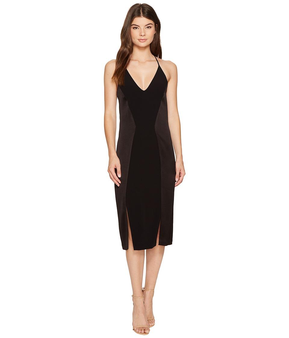 Halston Heritage Sleeveless V-Neck Satin Slip Dress w/ Back Cut Outs (Black) Women