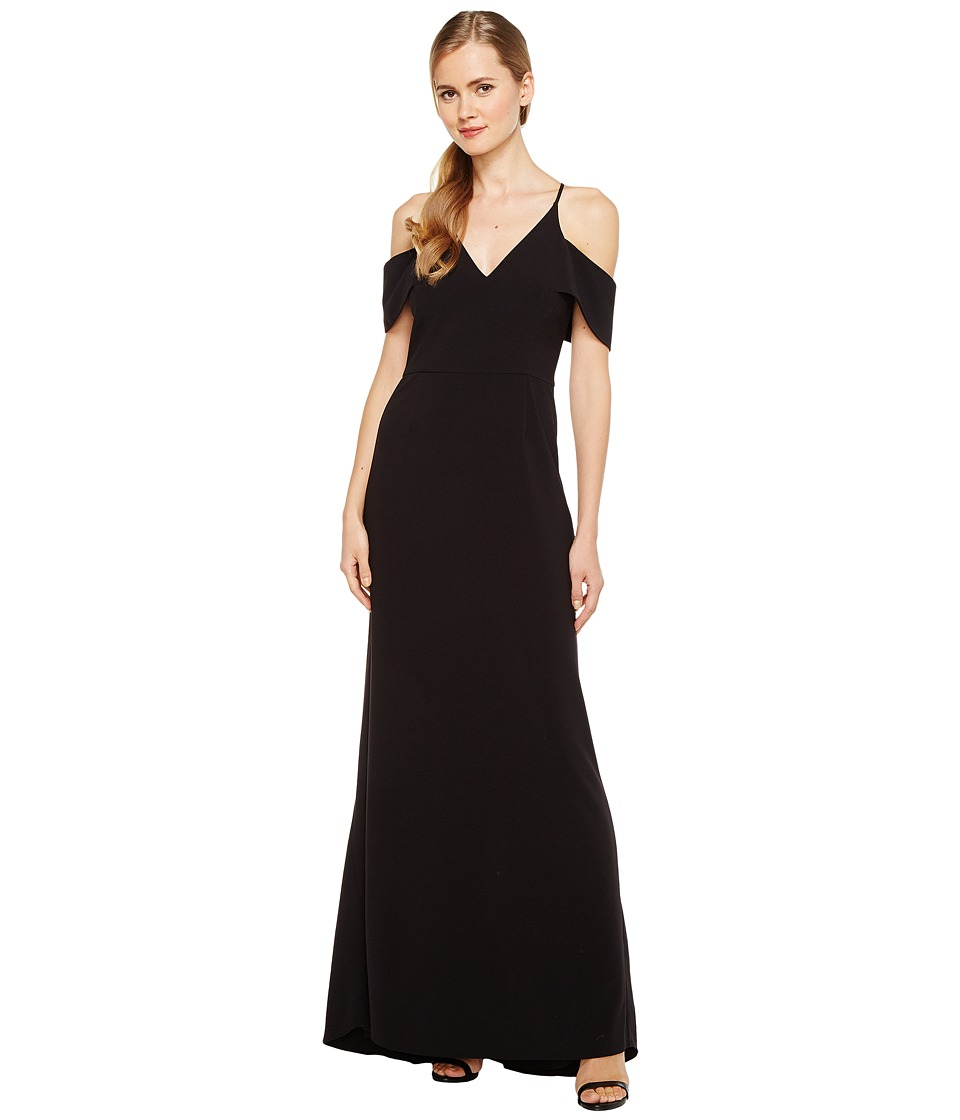 Halston Heritage Short Sleeve Cold Shoulder V-Neck Crepe Gown (Black) Women
