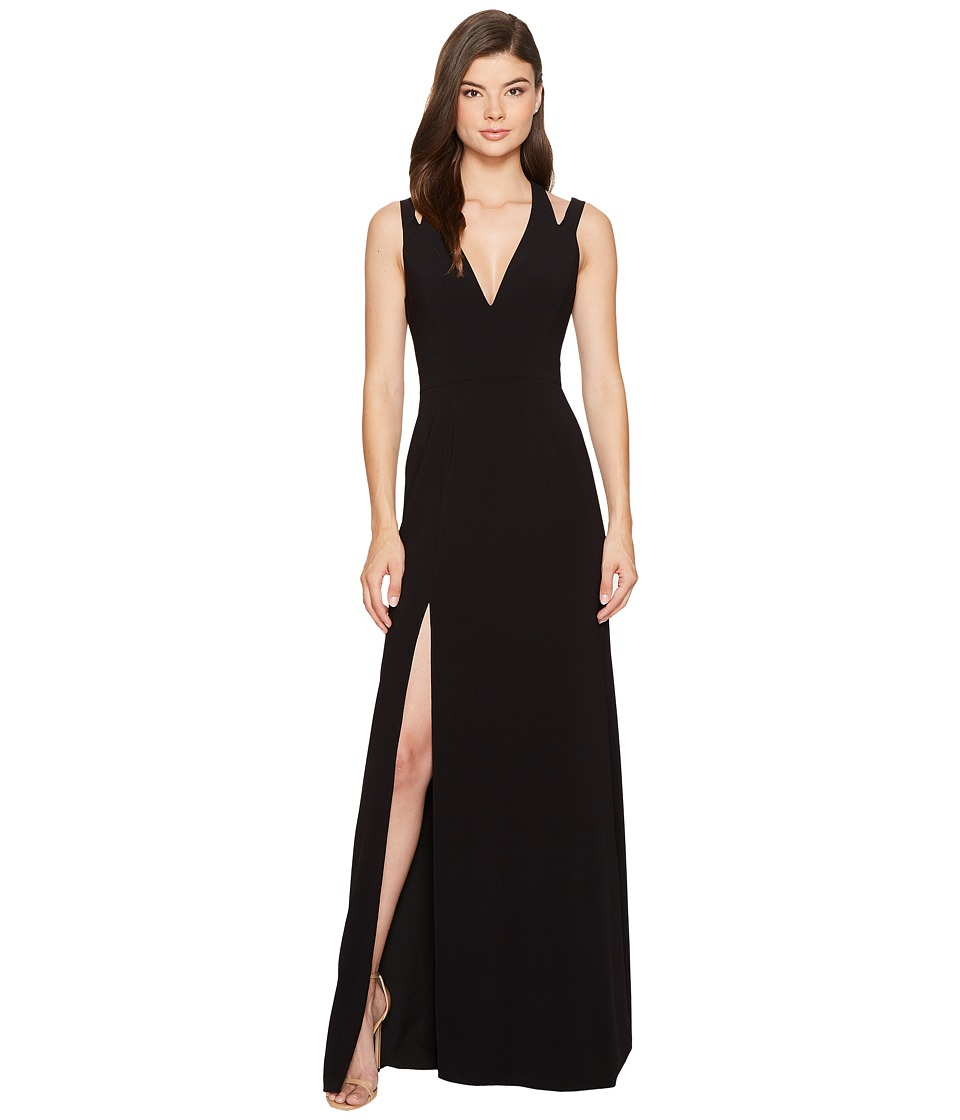 Halston Heritage Sleeveless Deep V-Neck Crepe Gown w/ Back Cut Outs (Black) Women