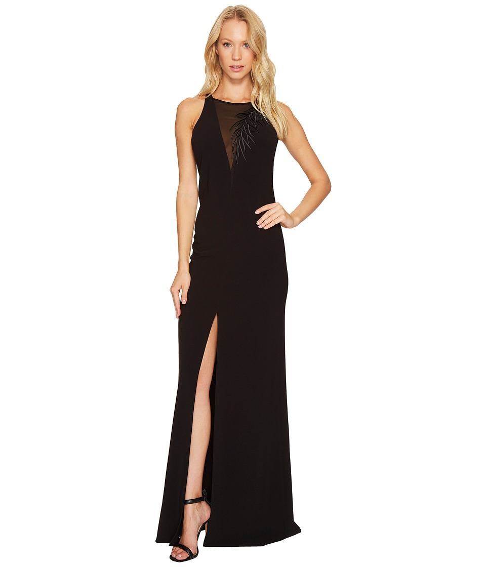 Halston Heritage Sleeveless Crepe Gown w/ Front Embroidery Detail (Black) Women