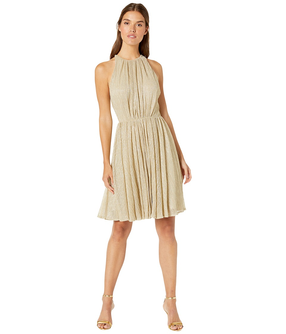 Halston Heritage Sleeveless High Neck Texture Metallic Dress w/ Strap Detail (Pale Gold) Women