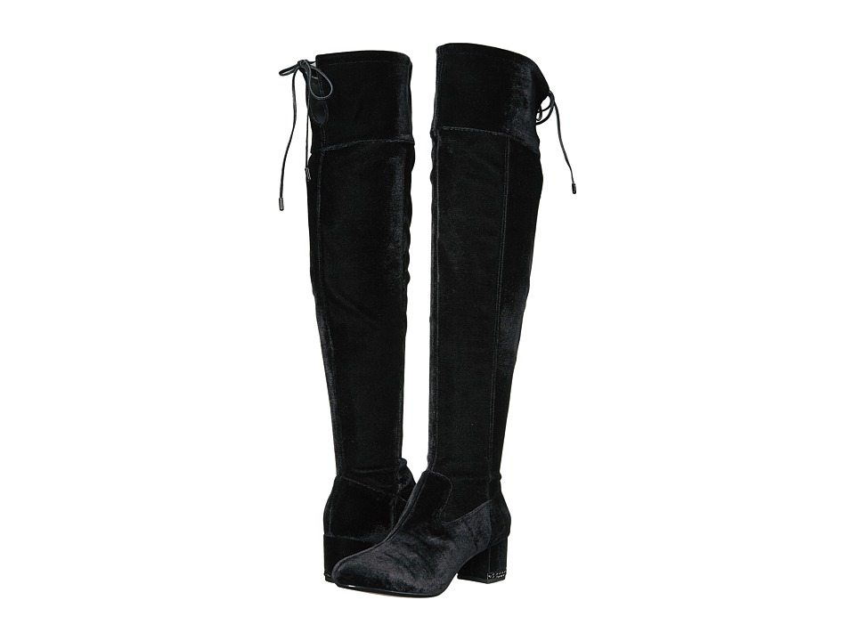 MICHAEL Michael Kors Jamie Over the Knee Boot (Black Velvet Stretch) Women