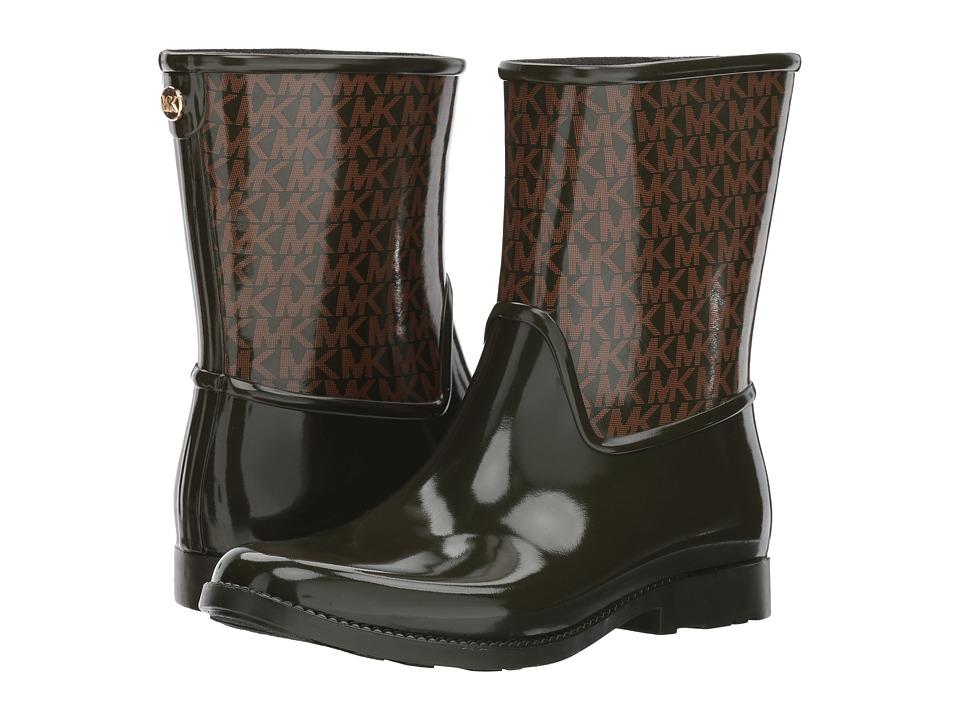 MICHAEL Michael Kors Sutter Rain Bootie (Dark Olive Rubber/Mini MK Logo PVC) Women