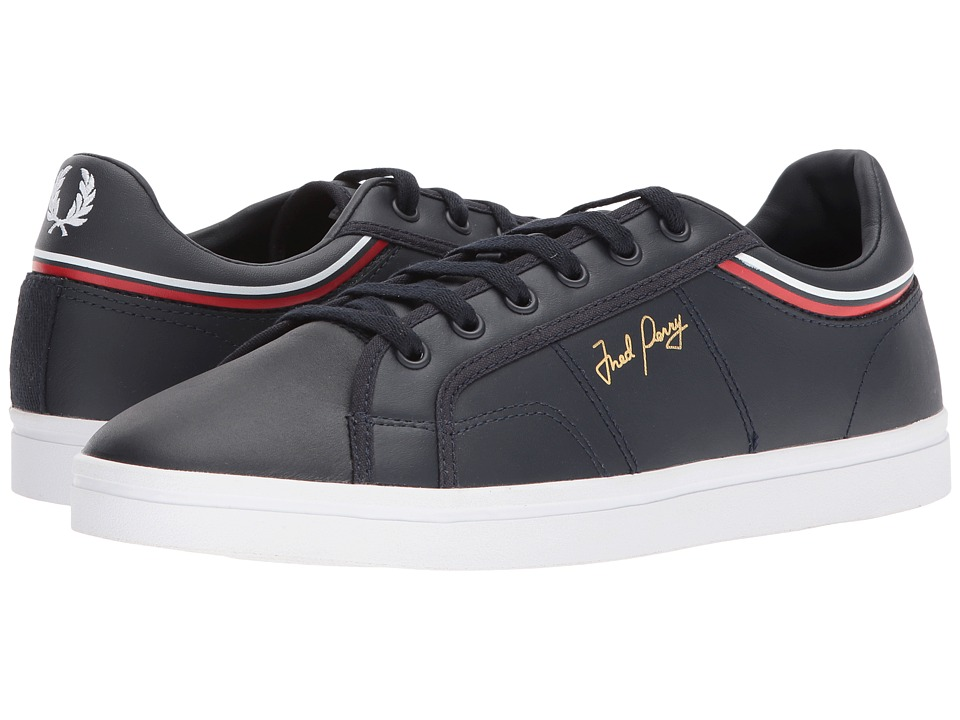 Fred Perry Sidespin Leather (Navy/White) Men