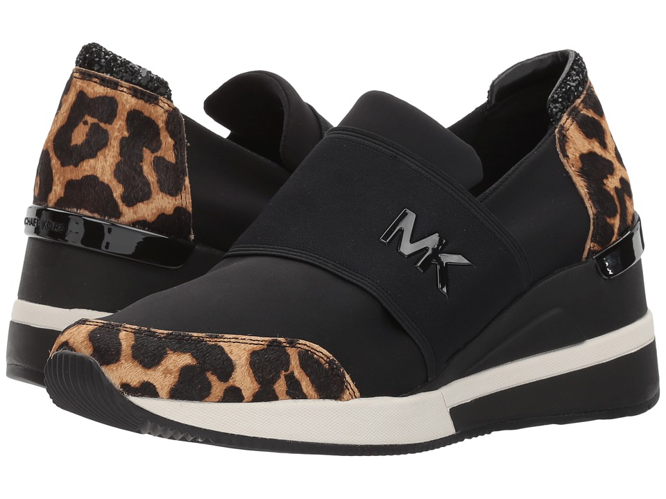 MICHAEL Michael Kors Felix Trainer (Natural/Black Cheetah Haircalf/Scuba/Chunky Glitter) Women