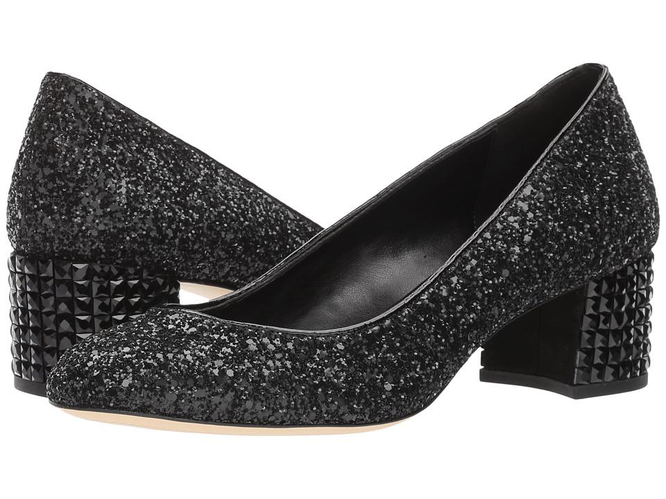 MICHAEL Michael Kors - Arabella Kitten Pump (Black Chunky Glitter/Crystal) Womens Slip on  Shoes