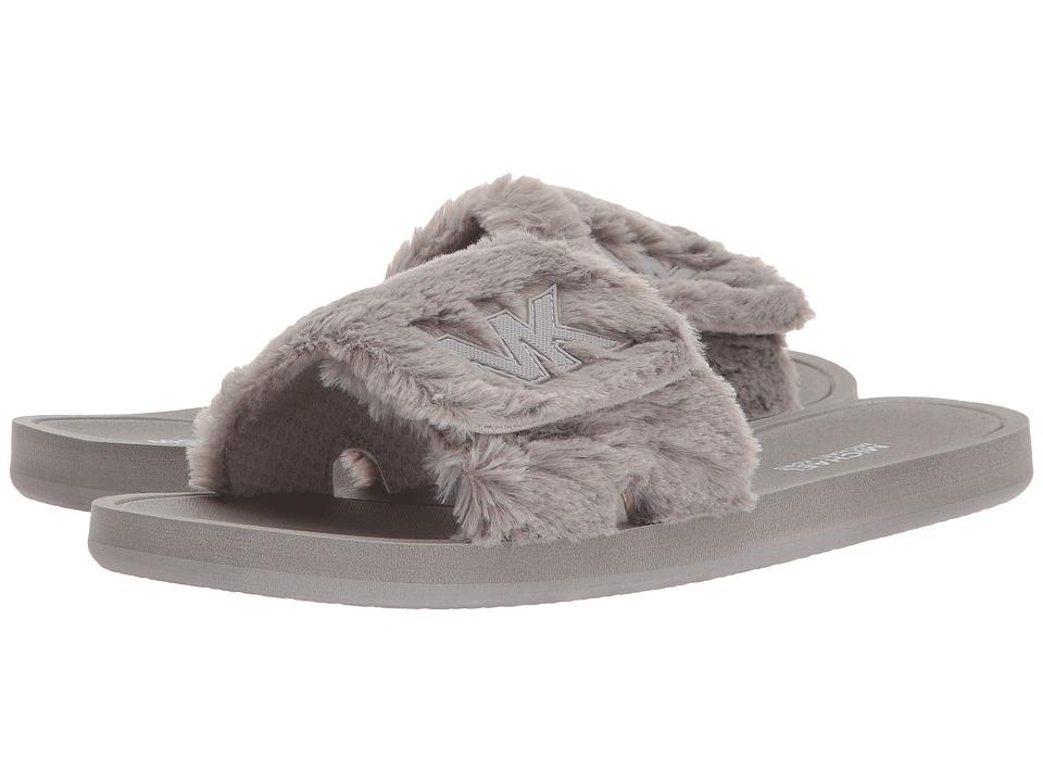 MICHAEL Michael Kors - MK Slide (Pearl Grey Faux Fur) Womens Sandals