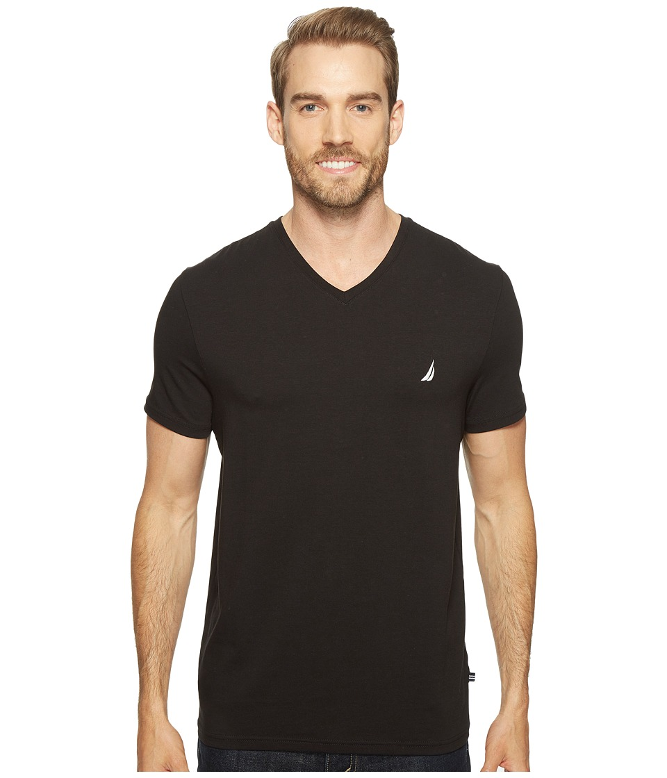 Nautica Short Sleeve V-Neck Tee (True Black) Men's Clothing