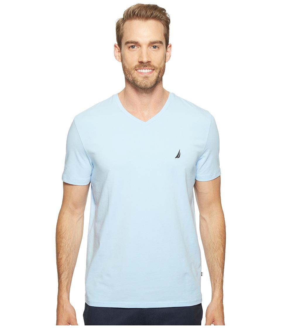 Nautica Short Sleeve V-Neck Tee (Noon Blue) Men's Clothing