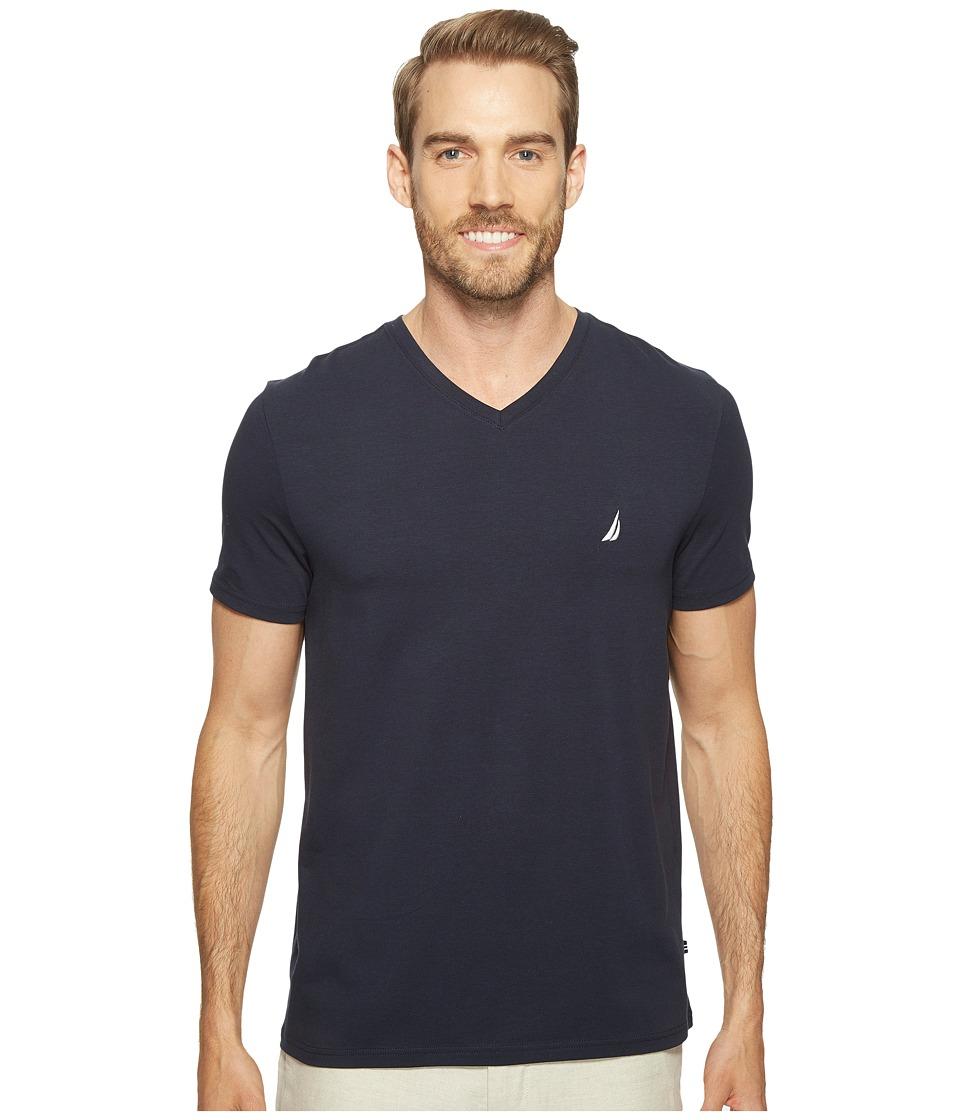 Nautica Short Sleeve V-Neck Tee (Navy) Men's Clothing