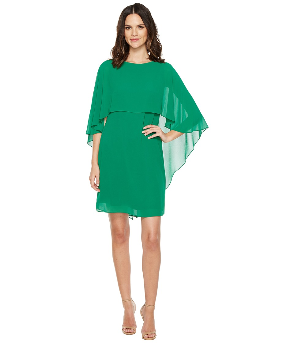 Vince Camuto Dress with Bateau Neckline and Cape Back Overlay (Emerald) Women