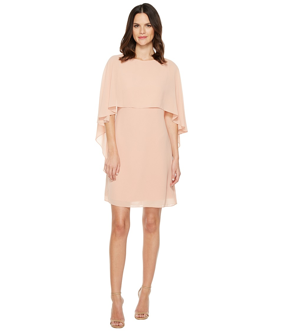 Vince Camuto Dress with Bateau Neckline and Cape Back Overlay (Blush) Women