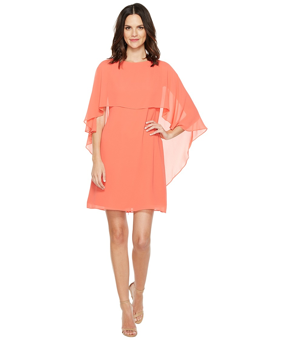 Vince Camuto Dress with Bateau Neckline and Cape Back Overlay (Guava) Women