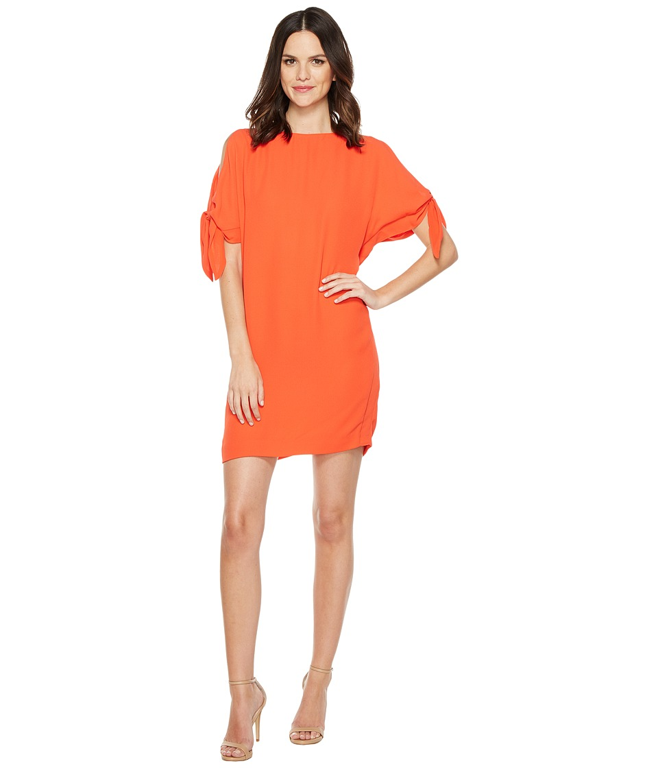 Vince Camuto Crepe Knotted Sleeve Shift Dress (Tangerine) Women